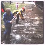 Glenside Garden with Children Raking