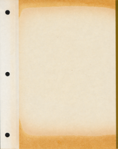 Example of an adhesive backed album page showing discoloration due to oxidation and possibly detrimental plastic cover sheet that may damage photos long-term due to their chemical composition