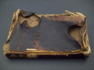 Photograph of a severely water-damaged book