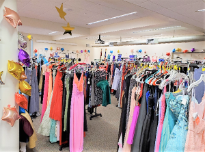 Formalwear dresses on racks