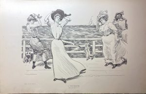 This is a Gibson's Girls drawing with the ladies being impacted by a windy day near the water